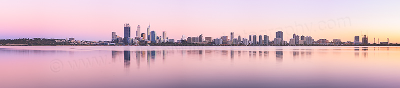 Perth and the Swan River at Sunrise, 12th March 2013