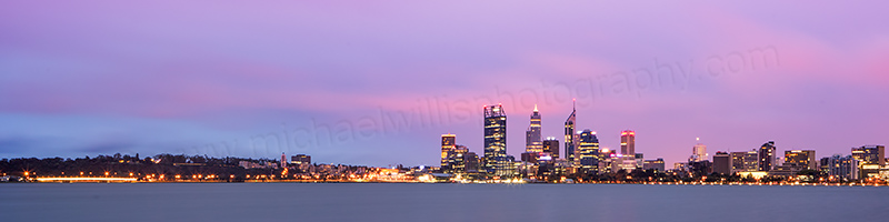 Perth and the Swan River at Sunrise, 26th March 2013