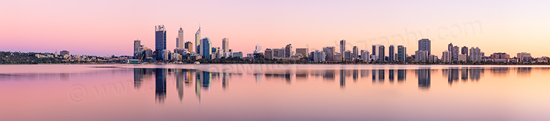 Perth and the Swan River at Sunrise, 31st March 2013