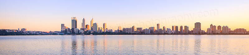 Perth and the Swan River at Sunrise, 29th June 2013