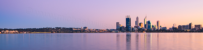 Perth and the Swan River at Sunrise, 30th June 2013
