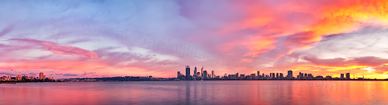 Perth and the Swan River at Sunrise, 9th July 2013