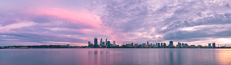 Perth and the Swan River at Sunrise, 12th July 2013
