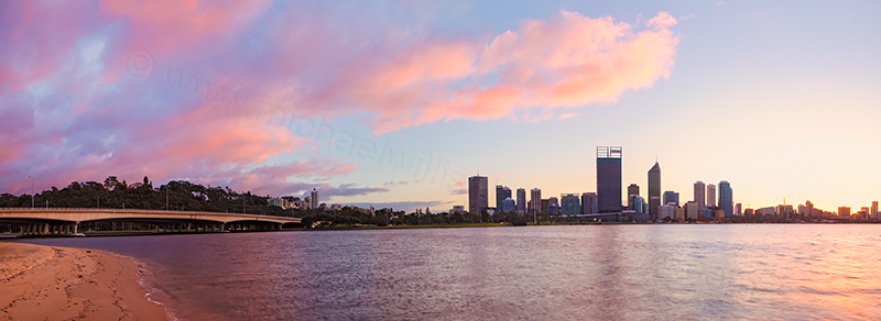 Perth and the Swan River at Sunrise, 17th July 2013