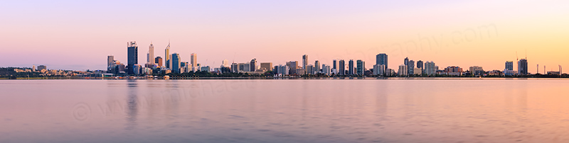 Perth and the Swan River at Sunrise, 1st October 2013