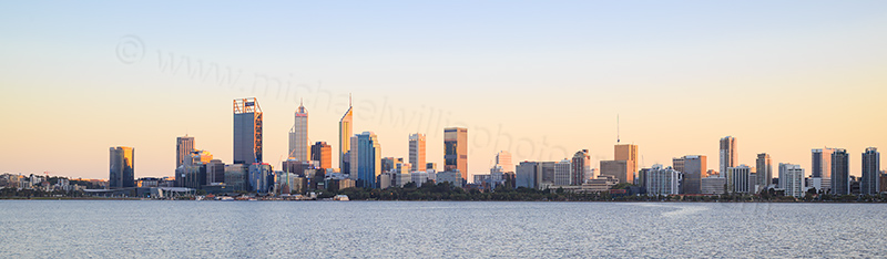 Perth and the Swan River at Sunrise, 17th April 2017