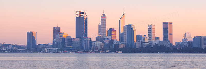 Perth and the Swan River at Sunrise, 28th April 2017