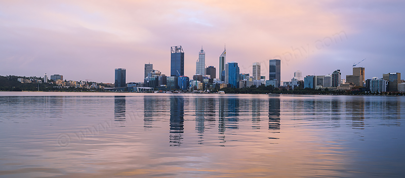 Perth and the Swan River at Sunrise, 26th May 2017