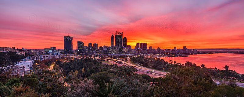 Perth Sunrise from Kings Park, 31st May 2017