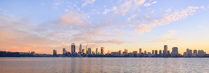 Perth and the Swan River at Sunrise, 3rd June 2017
