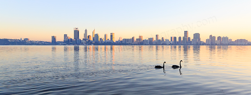 Perth and the Swan River at Sunrise, 7th June 2017