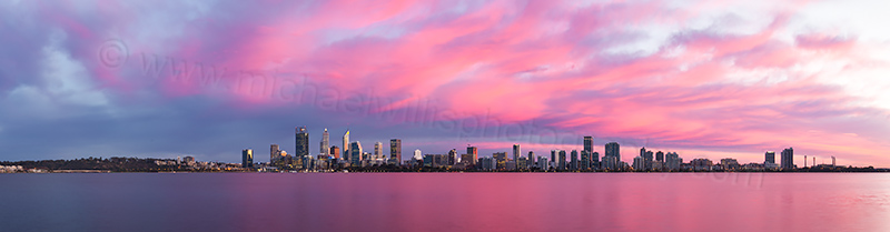 Perth and the Swan River at Sunrise, 12th June 2017
