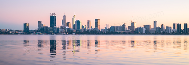 Perth and the Swan River at Sunrise, 17th June 2017