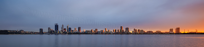 Perth and the Swan River at Sunrise, 27th June 2017