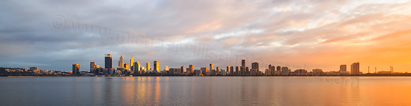 Perth and the Swan River at Sunrise, 2nd July 2017