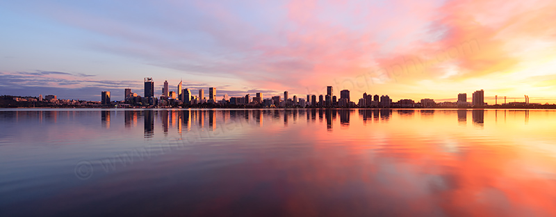 Perth and the Swan River at Sunrise, 9th July 2017