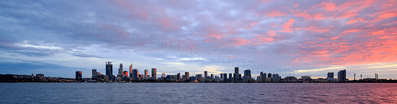 Perth and the Swan River at Sunrise, 10th July 2017