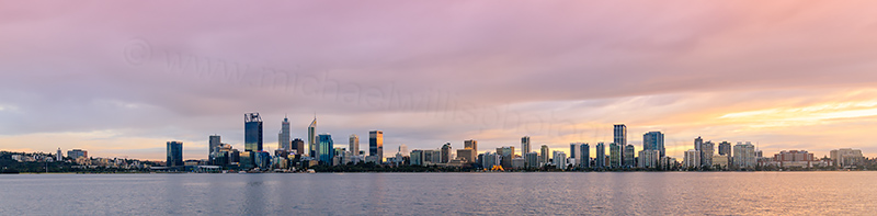 Perth and the Swan River at Sunrise, 14th July 2017