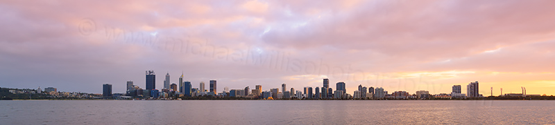 Perth and the Swan River at Sunrise, 16th July 2017