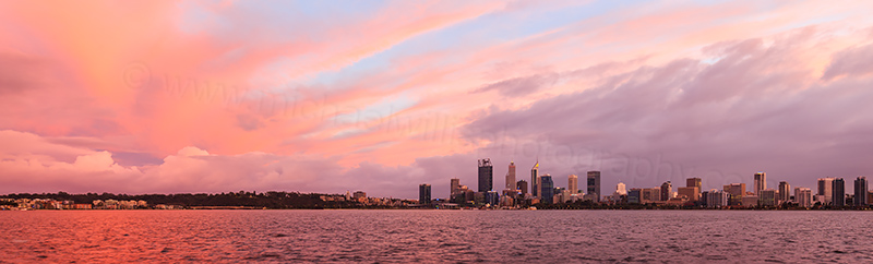 Perth and the Swan River at Sunrise, 31st July 2017