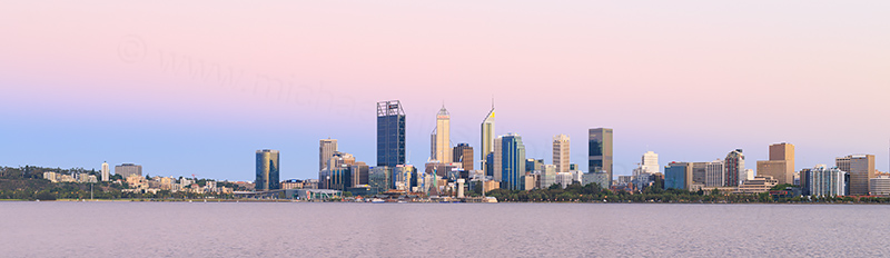 Perth and the Swan River at Sunrise, 1st January 2018
