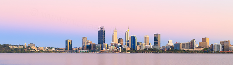 Perth and the Swan River at Sunrise, 2nd January 2018