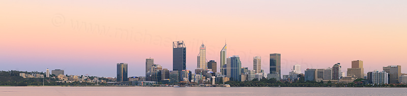 Perth and the Swan River at Sunrise, 3rd January 2018