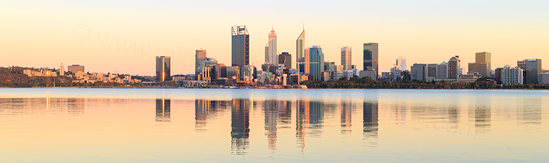 Perth and the Swan River at Sunrise, 4th January 2018