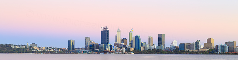 Perth and the Swan River at Sunrise, 6th January 2018
