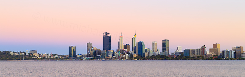 Perth and the Swan River at Sunrise, 7th January 2018