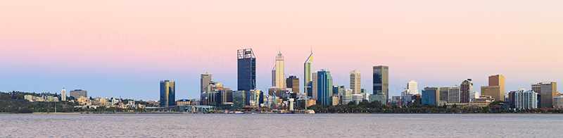 Perth and the Swan River at Sunrise, 8th January 2018