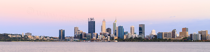 Perth and the Swan River at Sunrise, 9th January 2018