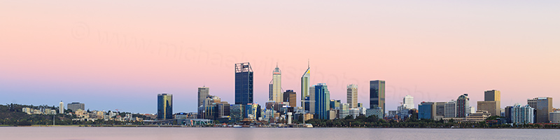 Perth and the Swan River at Sunrise, 12th January 2018