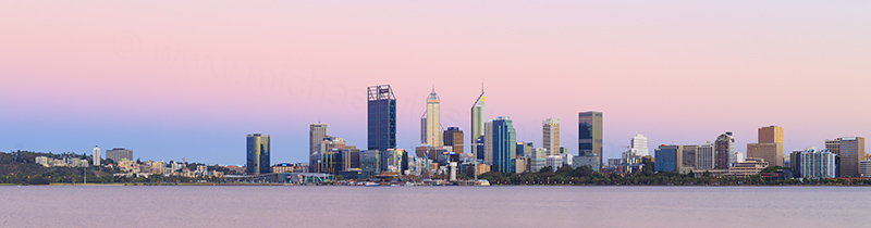 Perth and the Swan River at Sunrise, 13th January 2018