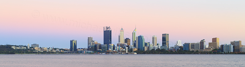 Perth and the Swan River at Sunrise, 19th January 2018