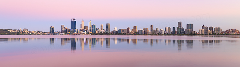 Perth and the Swan River at Sunrise, 21st January 2018