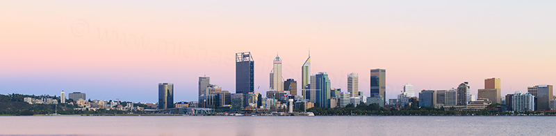 Perth and the Swan River at Sunrise, 25th January 2018