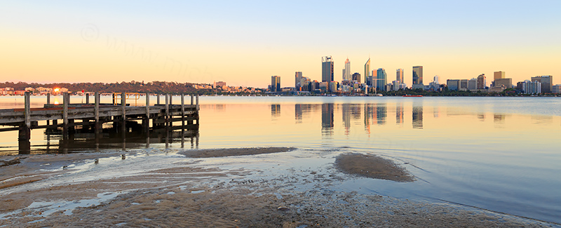 Perth and the Swan River at Sunrise, 27th January 2018