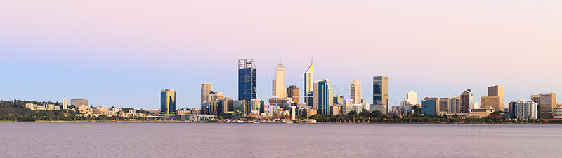 Perth and the Swan River at Sunrise, 29th January 2018