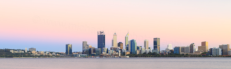 Perth and the Swan River at Sunrise, 30th January 2018