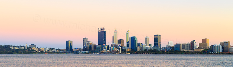 Perth and the Swan River at Sunrise, 31st January 2018