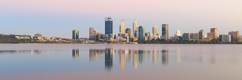 Perth and the Swan River at Sunrise, 9th February 2018