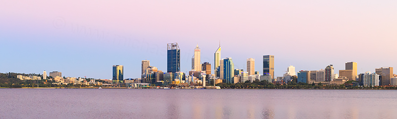 Perth and the Swan River at Sunrise, 10th February 2018