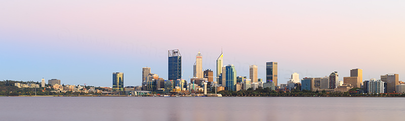 Perth and the Swan River at Sunrise, 14th February 2018
