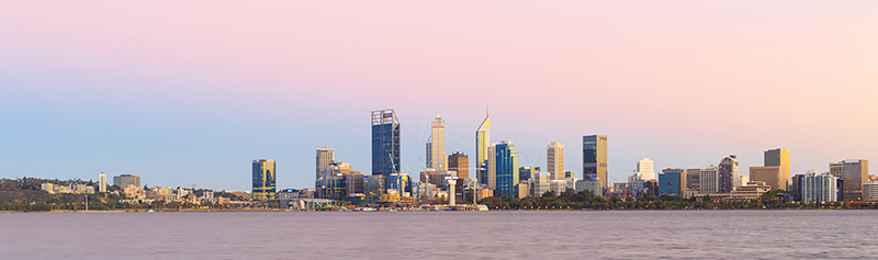 Perth and the Swan River at Sunrise, 16th February 2018