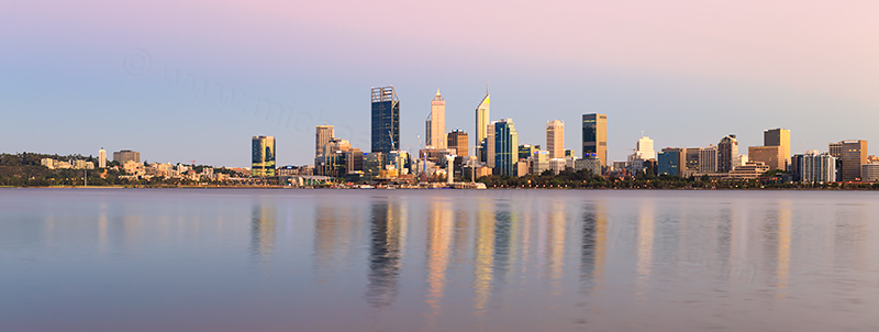 Perth and the Swan River at Sunrise, 21st February 2018