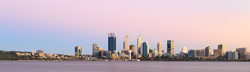 Perth and the Swan River at Sunrise, 4th March 2018