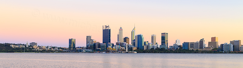 Perth and the Swan River at Sunrise, 10th March 2018