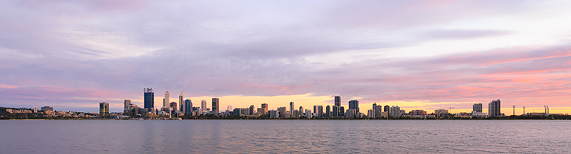 Perth and the Swan River at Sunrise, 13th March 2018