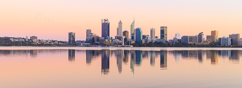 Perth and the Swan River at Sunrise, 18th March 2018